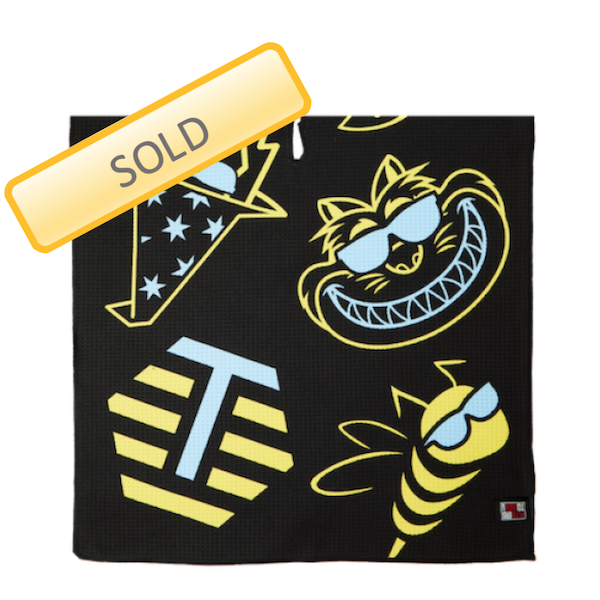 Bettinardi Multi-icon Players Towel - Yellow/Sky Blue